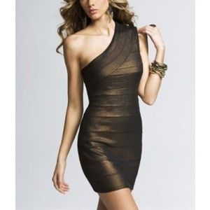 NWT EXPRESS One shoulder Metallic Dress
